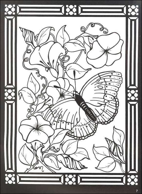 Stained Glass Coloring Pages Butterfly And Flowers