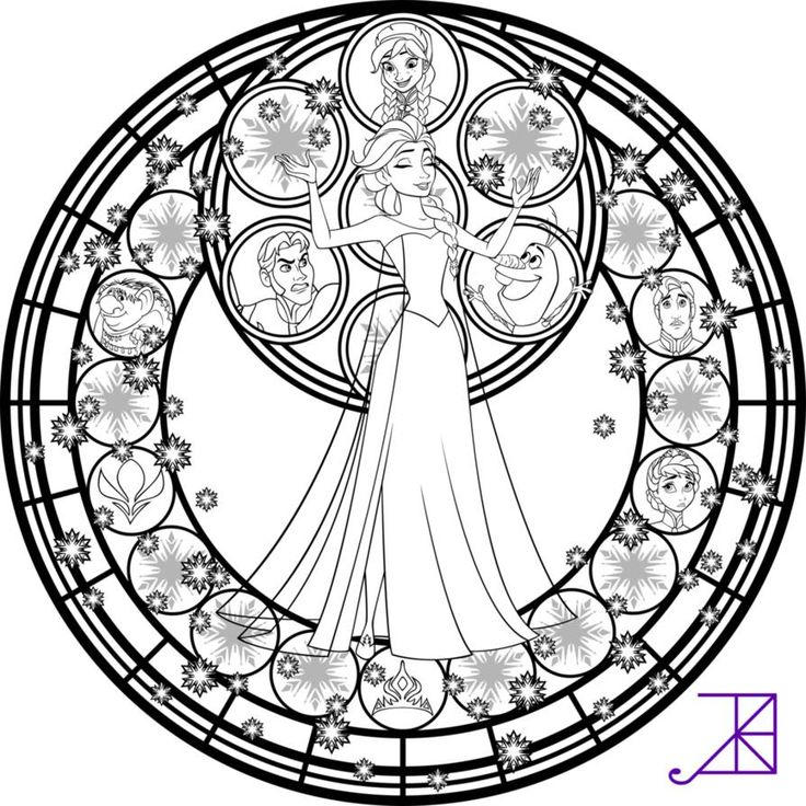 Stained Glass Coloring Pages Disney Frozen
