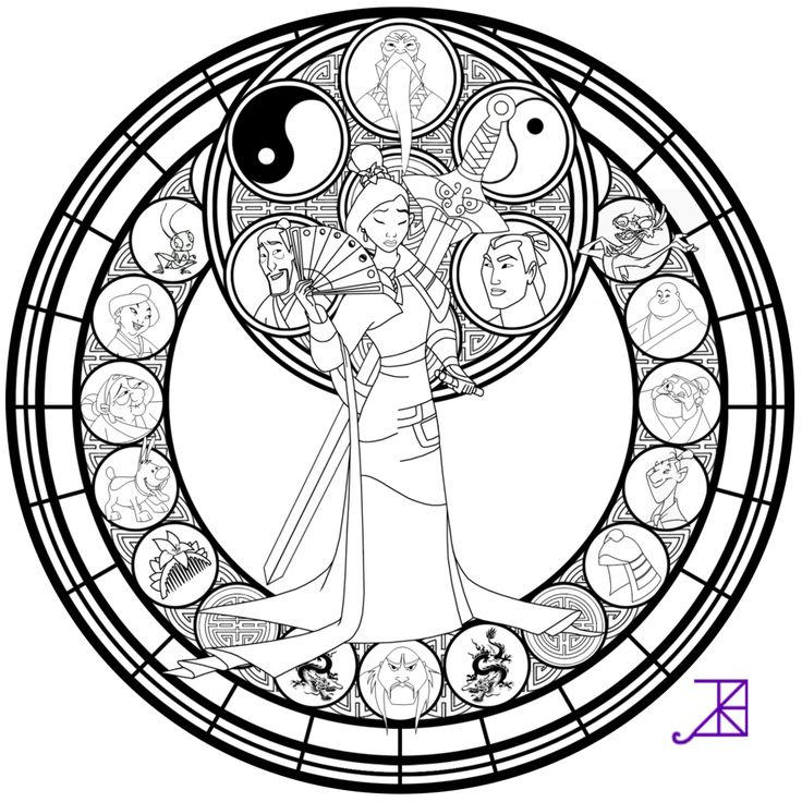 Stained Glass Coloring Pages Disney Mulan