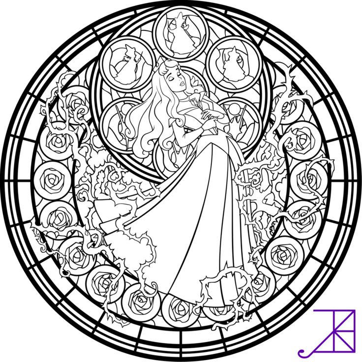 Stained Glass Coloring Pages Disney Sleeping Beauty