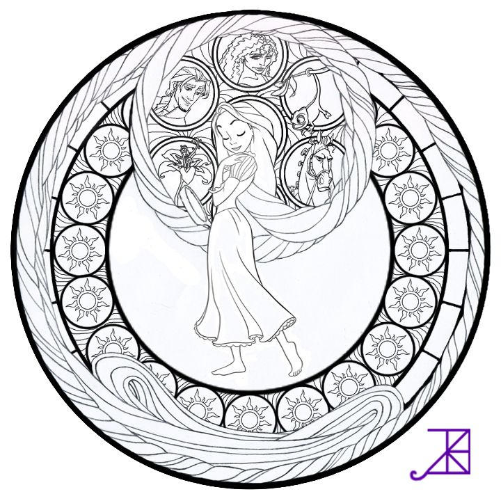 Stained Glass Coloring Pages Disney Tangled