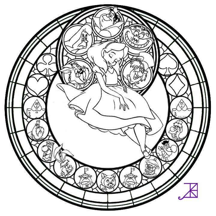 Stained Glass Coloring Pages Disney