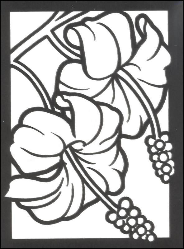 Stained Glass Coloring Pages Hibiscus Flower