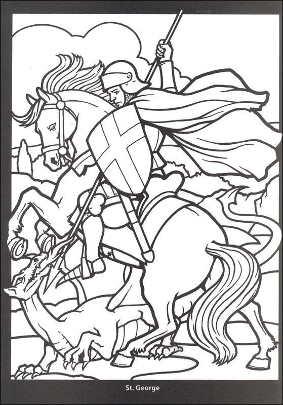 Stained Glass Coloring Pages Knight On Horse
