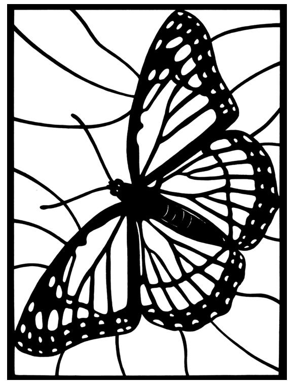 Stained Glass Coloring Pages Monarch Butterfly