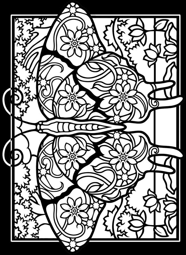 Stained Glass Coloring Pages Of Butterfly For Adults