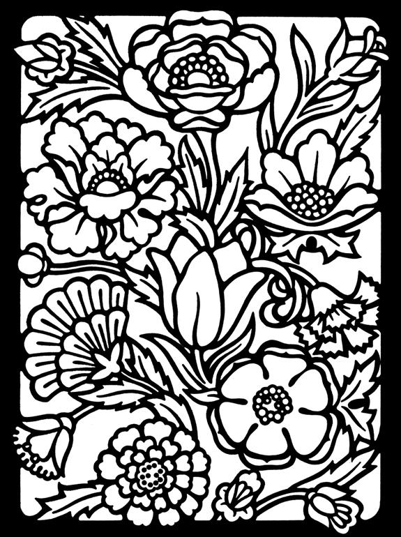 Stained Glass Coloring Pages Of Flowers For Adults