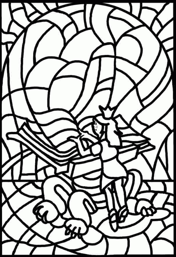 Stained Glass Coloring Pages Printable