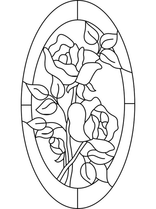 Stained Glass Coloring Pages Roses
