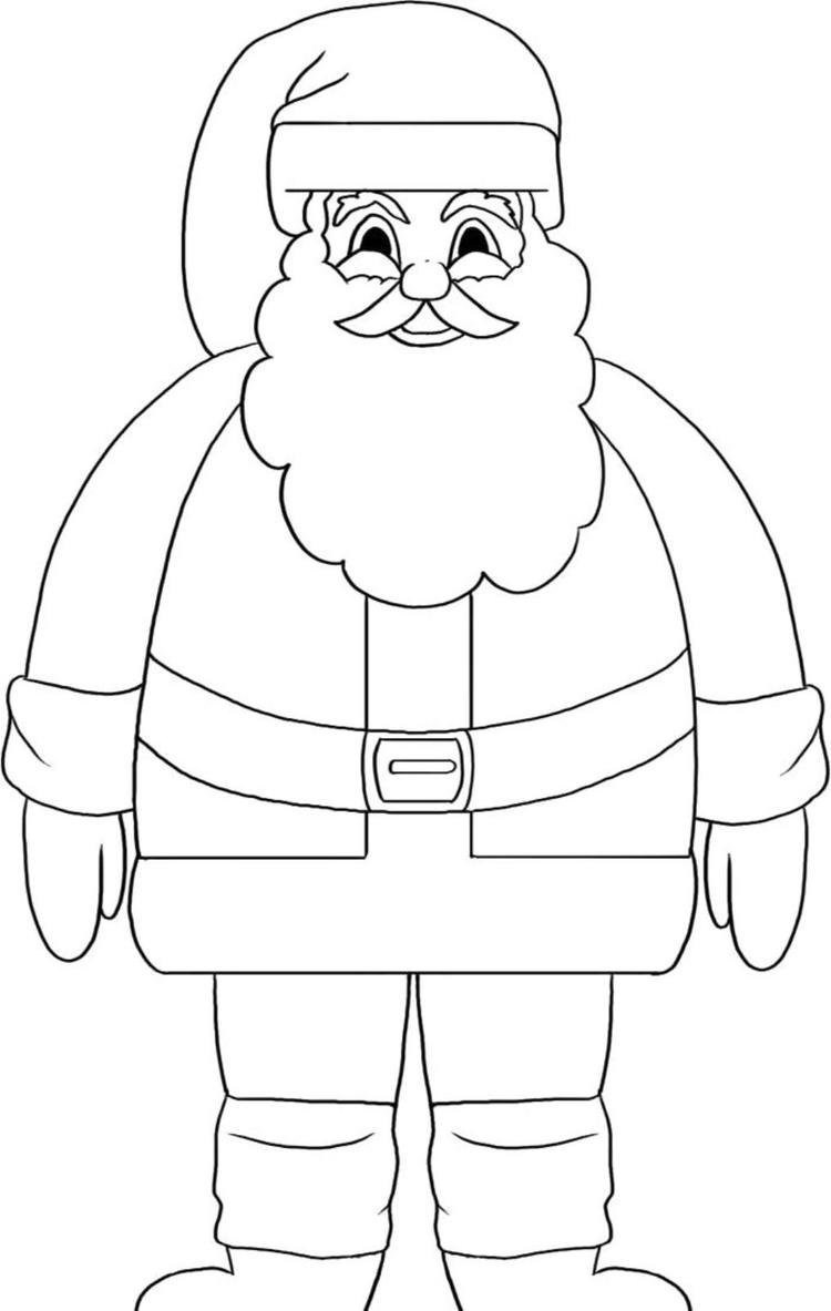 Stand Santa Coloring Pages For Kids Printable