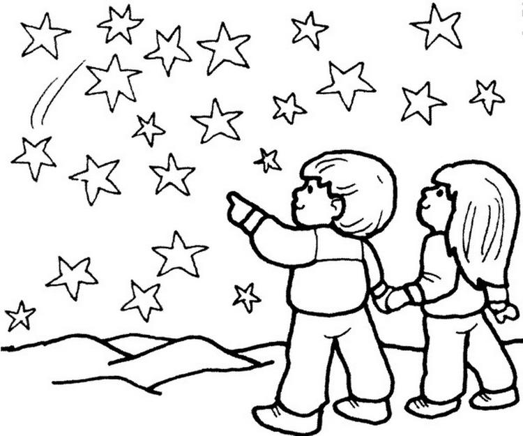 Star Coloring Pages Starry Night