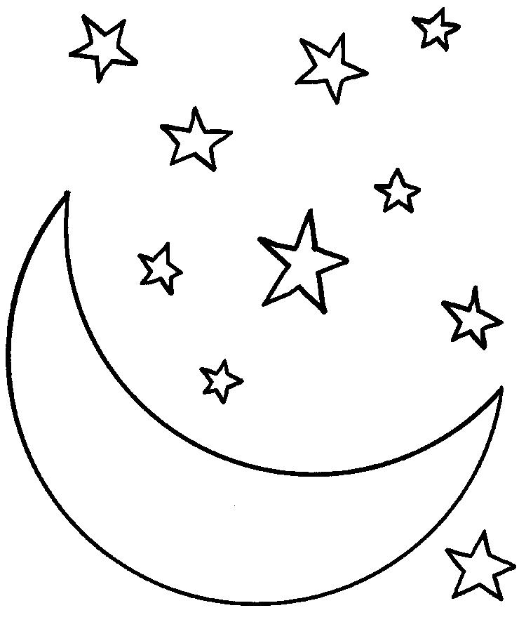 Star Coloring Pages With Crescent Moon