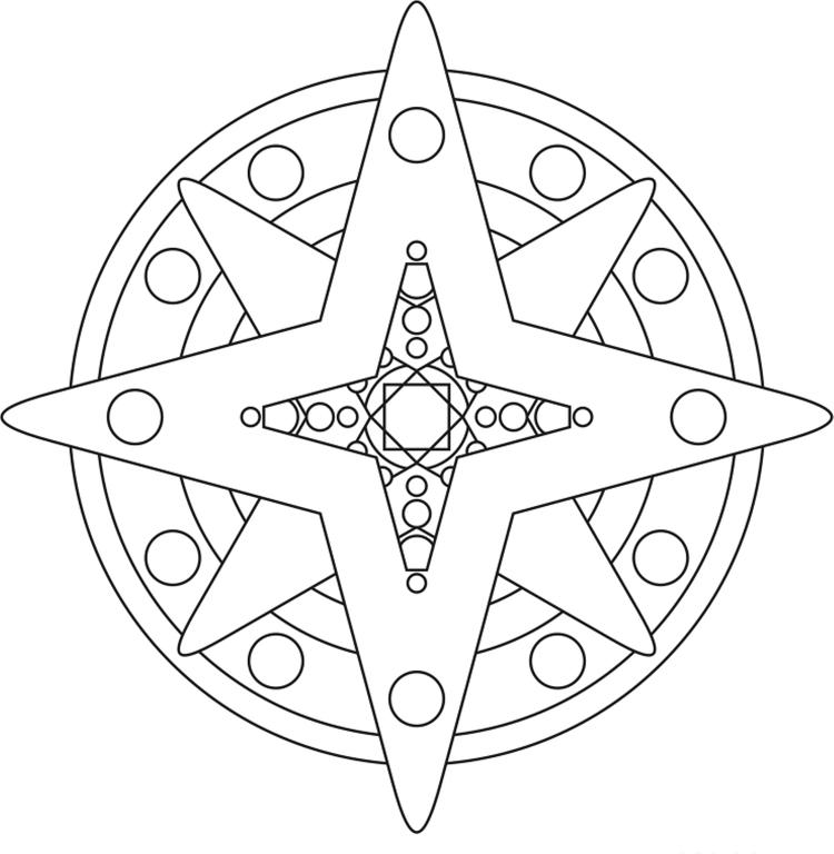 Star Shape Mandala Coloring Pages