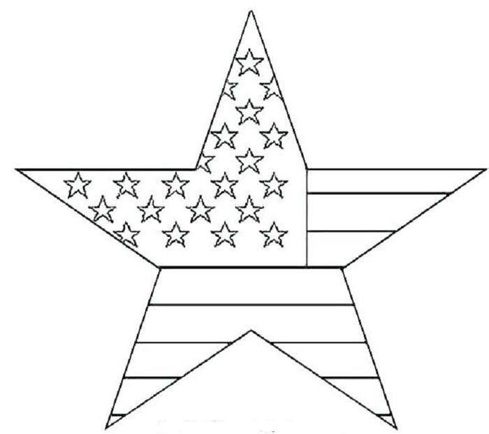 Star Shaped Of Us Flag Coloring Pages