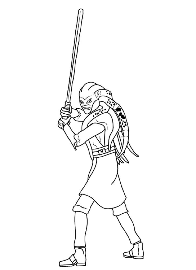 Star Wars Kit Fisto Coloring Pages