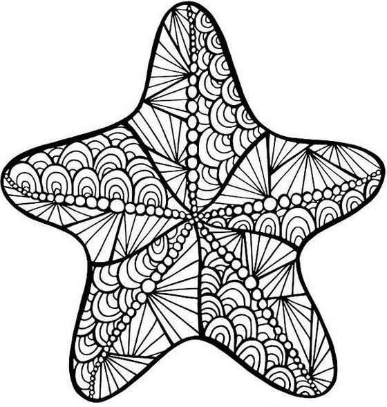 Starfish Zentangle Coloring Page Printable