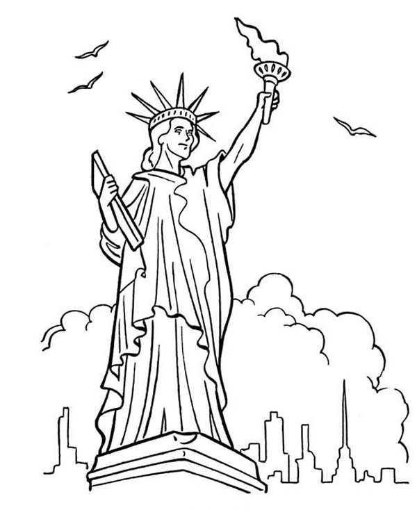 Statue Of Liberty Coloring Pages In New York
