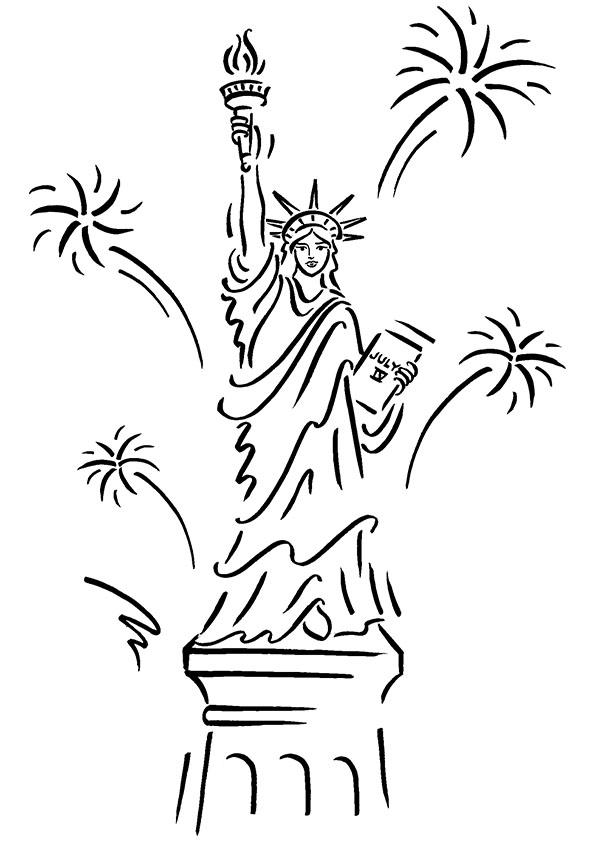 Statue Of Liberty Coloring Pages With Fireworks