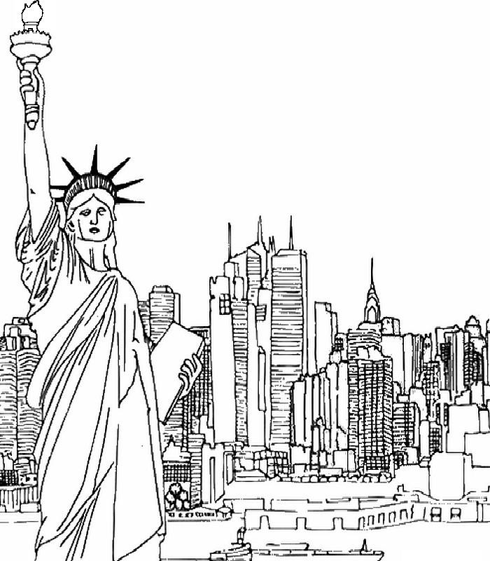 Statue Of Liberty Coloring Pages With New York City