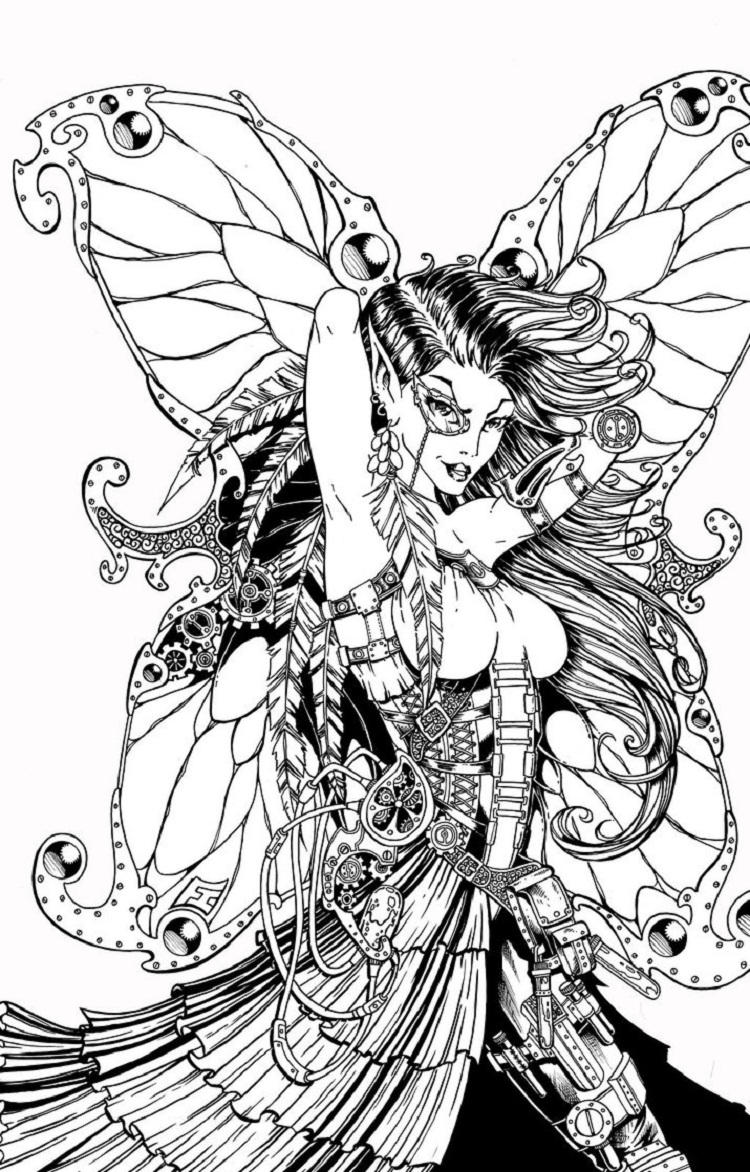 Steampunk Gothic Fairies Coloring Pages
