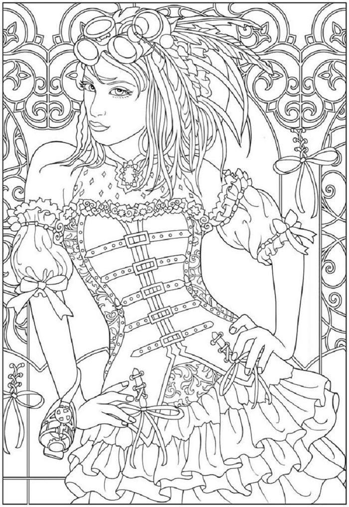 Steampunk People Coloring Pages