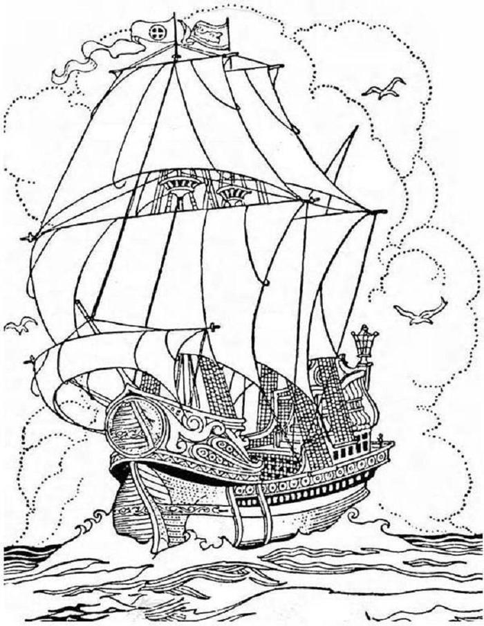 Steampunk Ship Coloring Pages