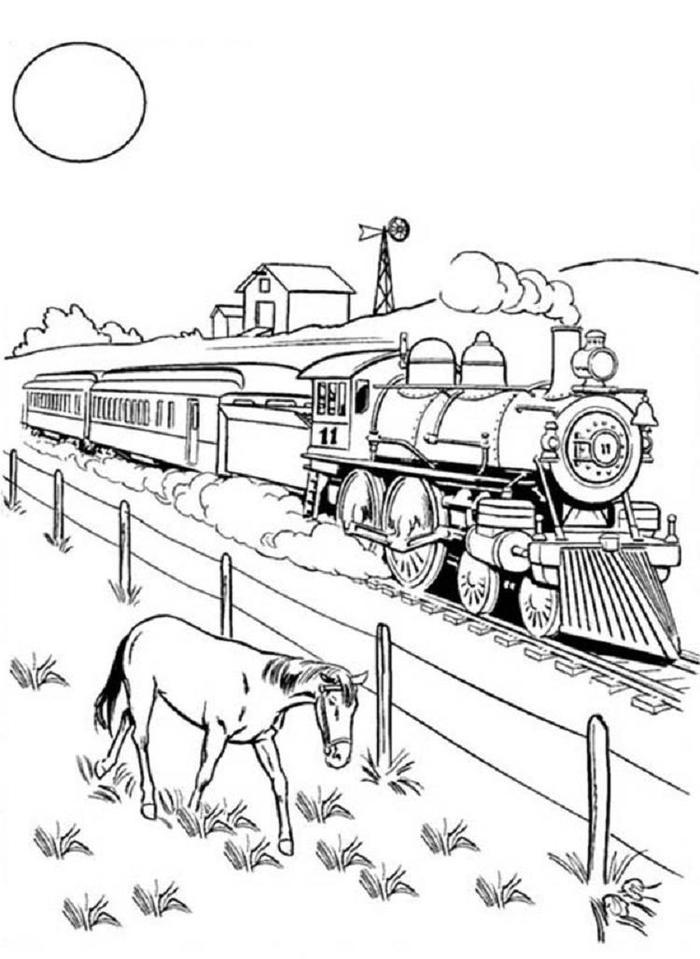Steampunk Train Coloring Pages