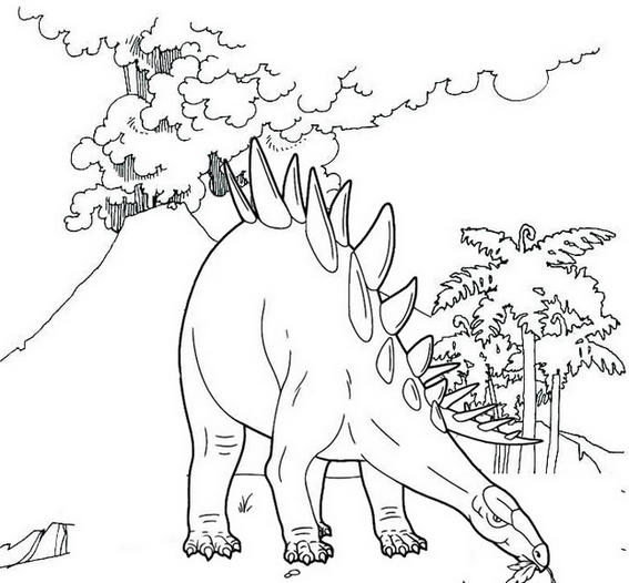 Stegosaurus Live Coloring Page