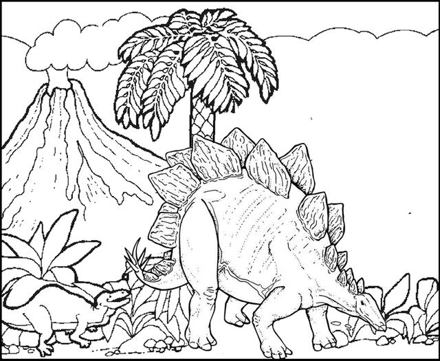 Stegosaurus With Volcano Scenery Coloring Page