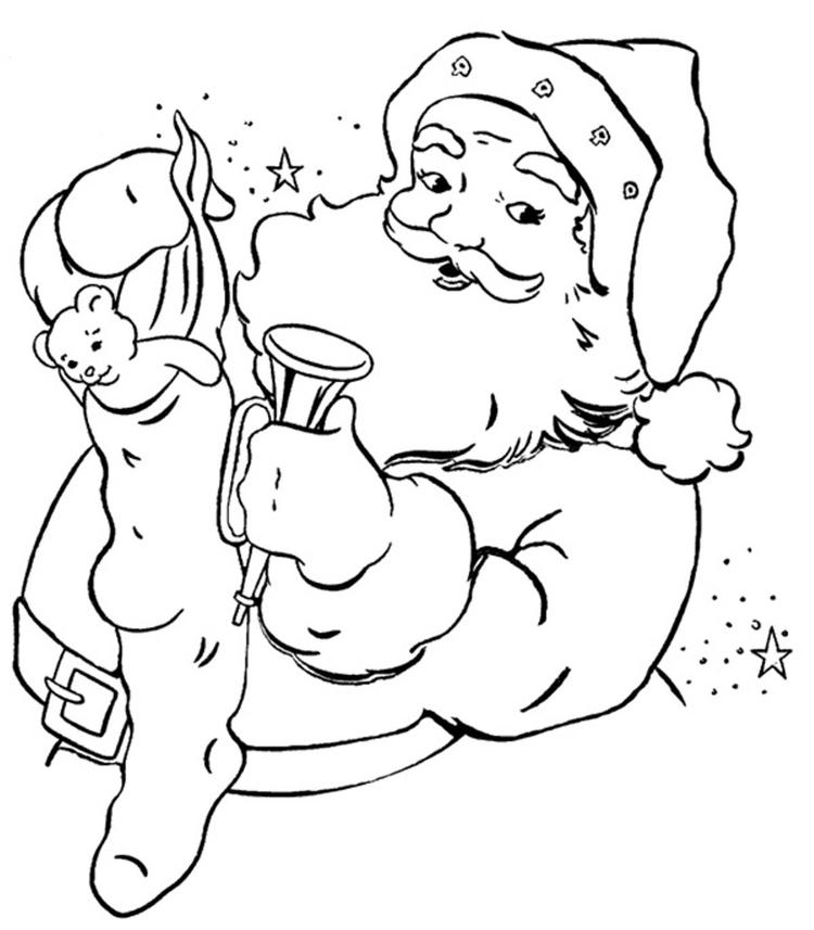 Stocking Present Santa Claus Coloring Pages