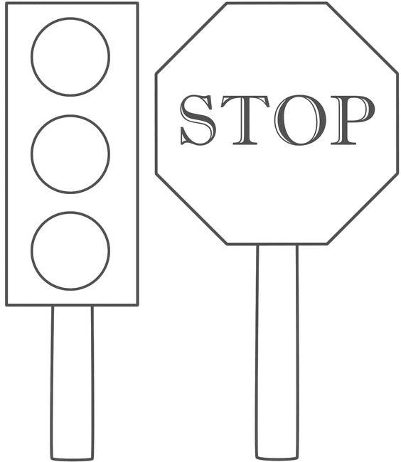Stop Sign Coloring Pages With Traffic Light