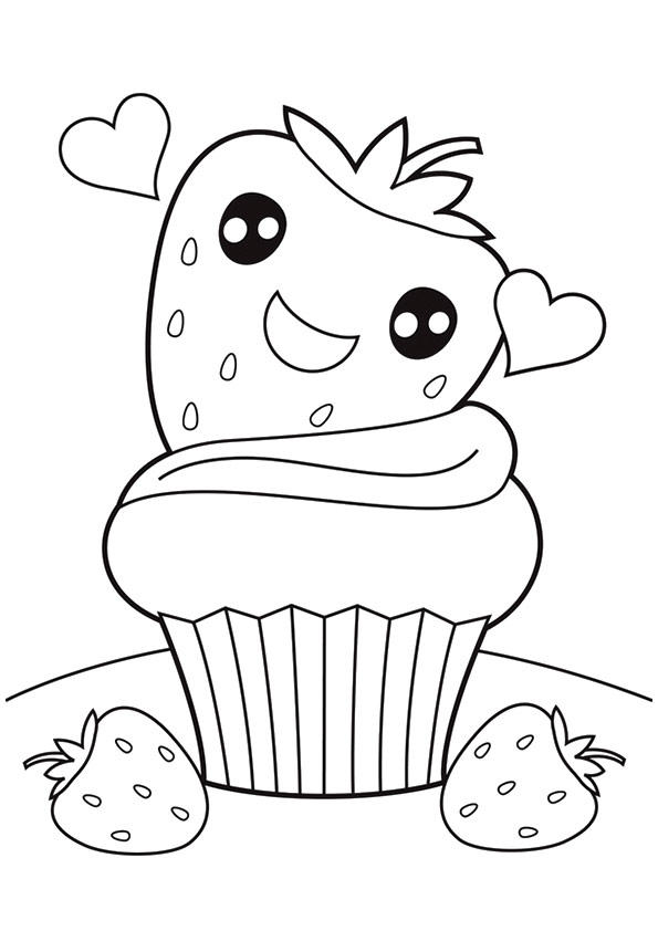 Strawberry Coloring Pages Cupcake