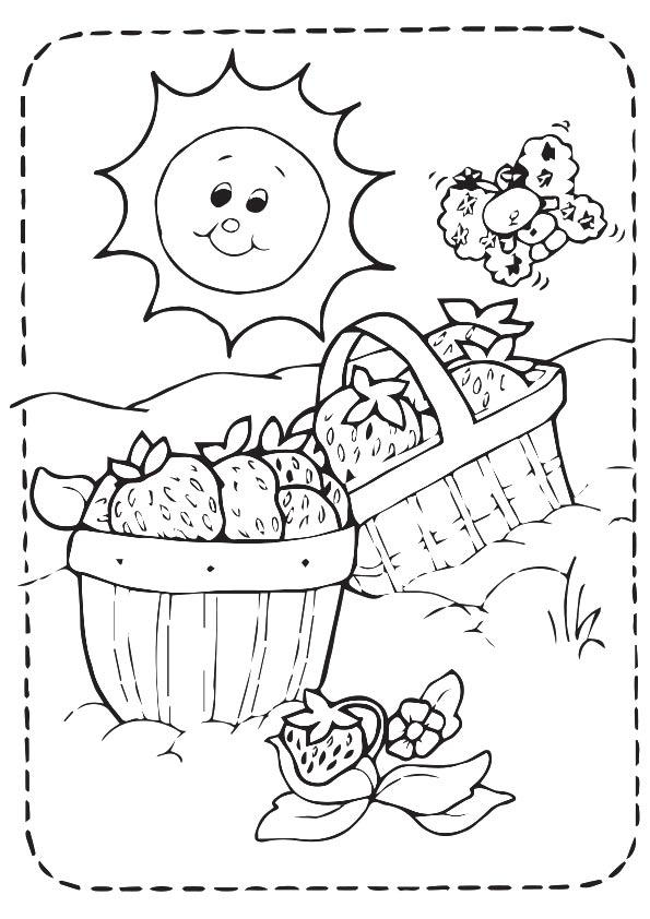 Strawberry Coloring Pages In Basket
