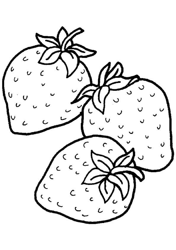 Strawberry Coloring Pages Three Strawberries