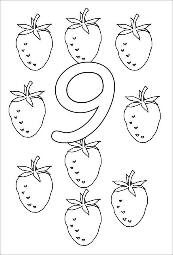Strawberry For Learn Number 9 Coloring Page