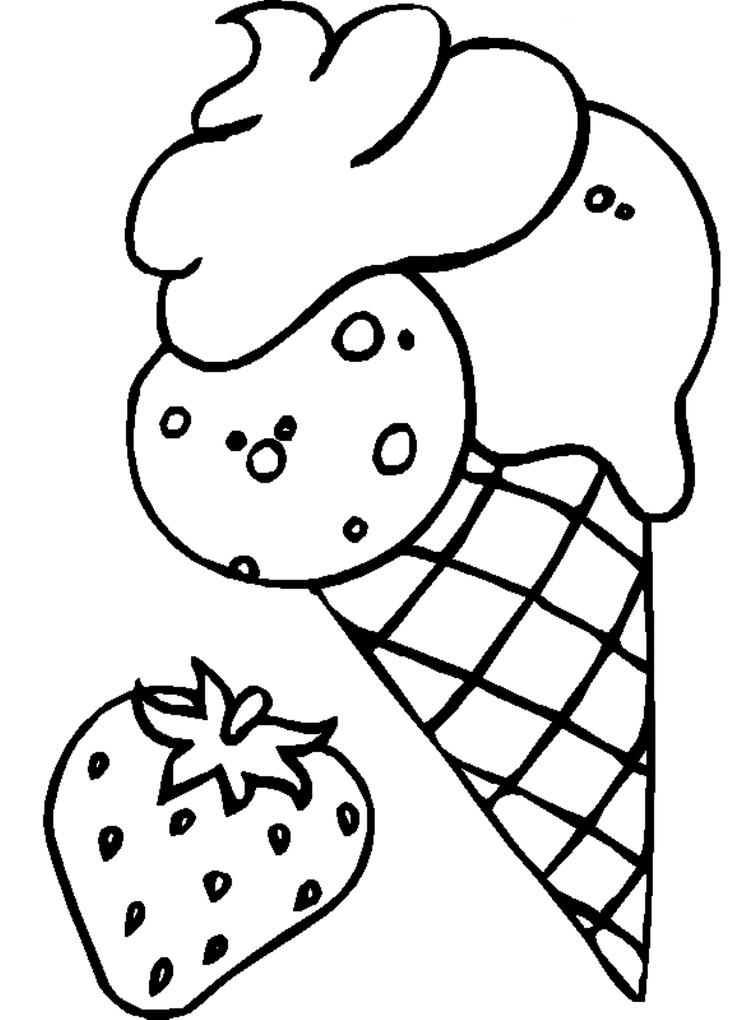 Strawberry Ice Cream Coloring Pages