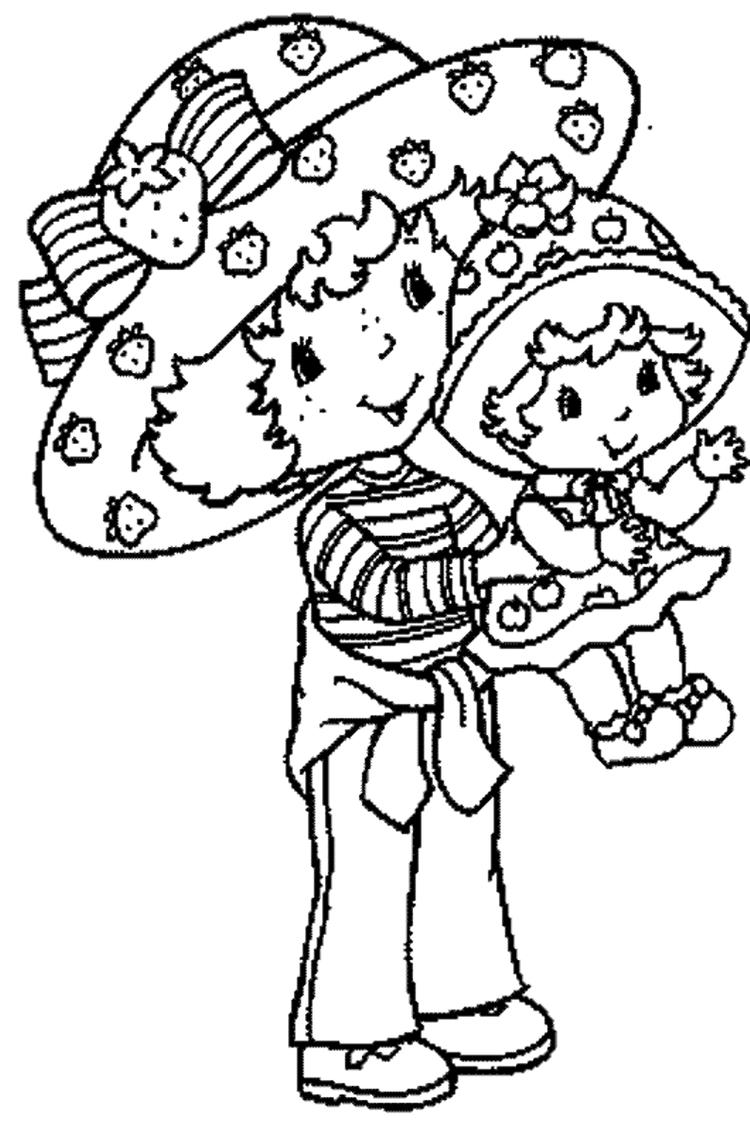 Strawberry Shortcake Coloring Page Carry A Baby