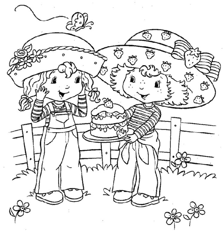 Strawberry Shortcake Coloring Page Sharing Flavorite Dessert With Angel Cake