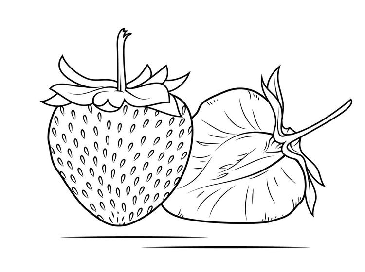 Strawberry Slice Coloring Pages