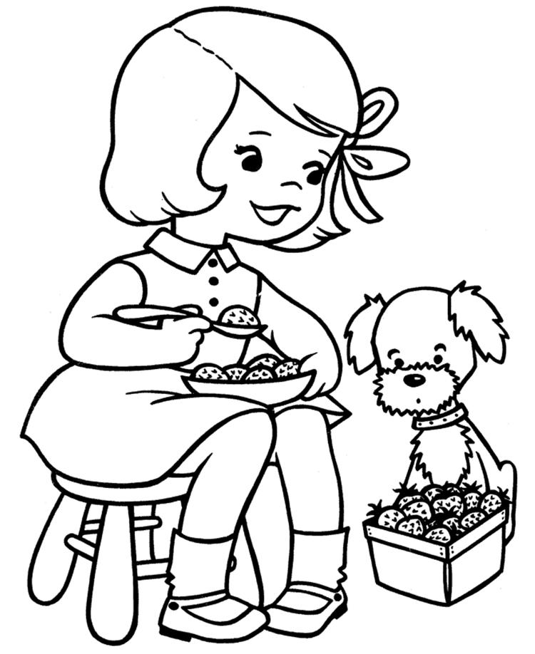 Strawberry Spring Coloring Page