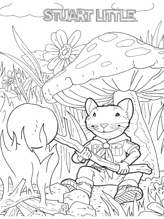 Stuart Little In Magical Forest With Mushroom Scenery Coloring Pages