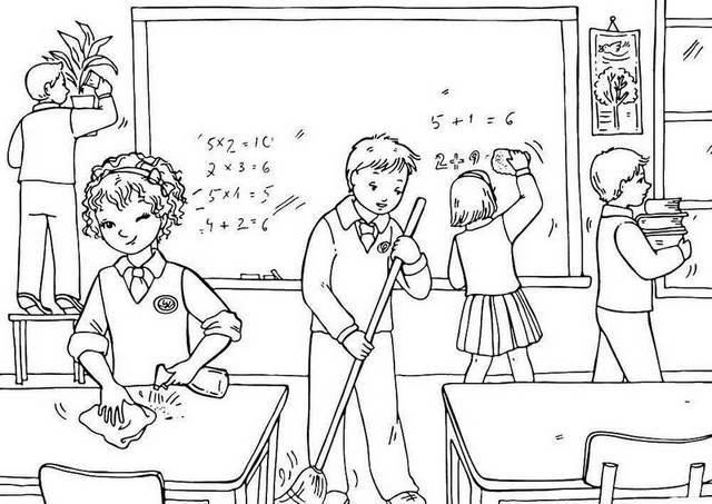 Students Cleaning Classroom Coloring Page