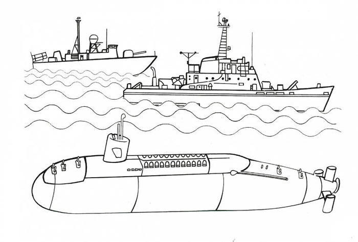 Submarine Warship Coloring Pages