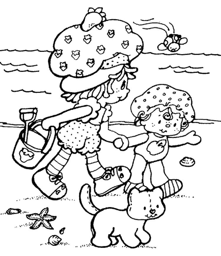 Summer Beach Strawberry Shortcake Coloring Page