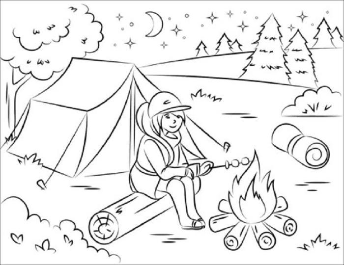 Summer Camping Coloring Pages