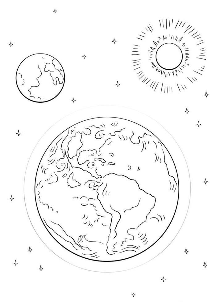 Sun And Earth Coloring Pages