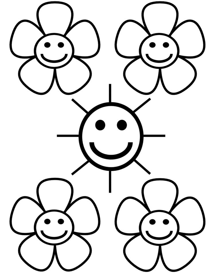 Sun And Flower Flower Coloring Page