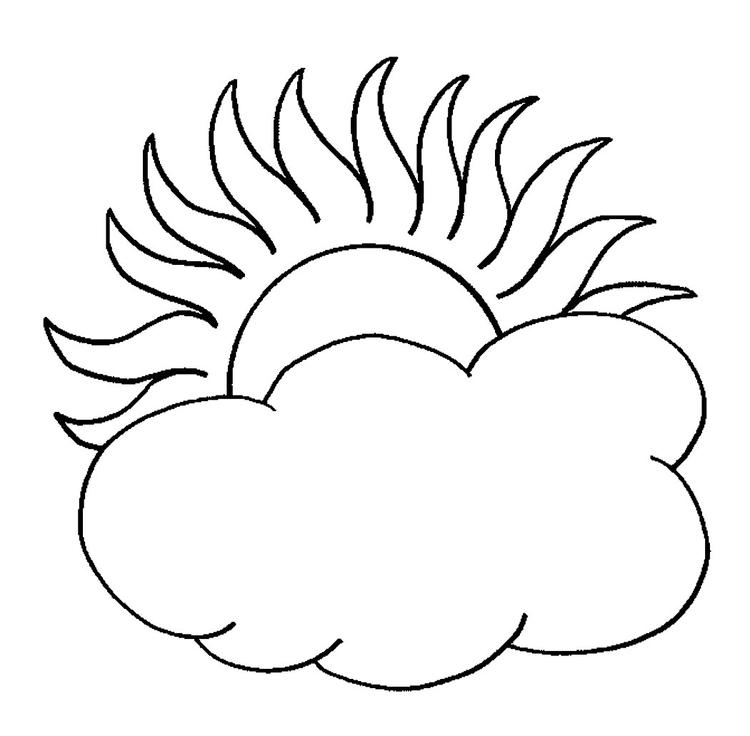 Sun Coloring Pages Behind The Clouds