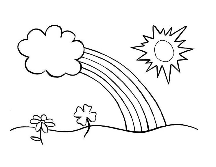 Sun Coloring Pages Clouds Rainbow