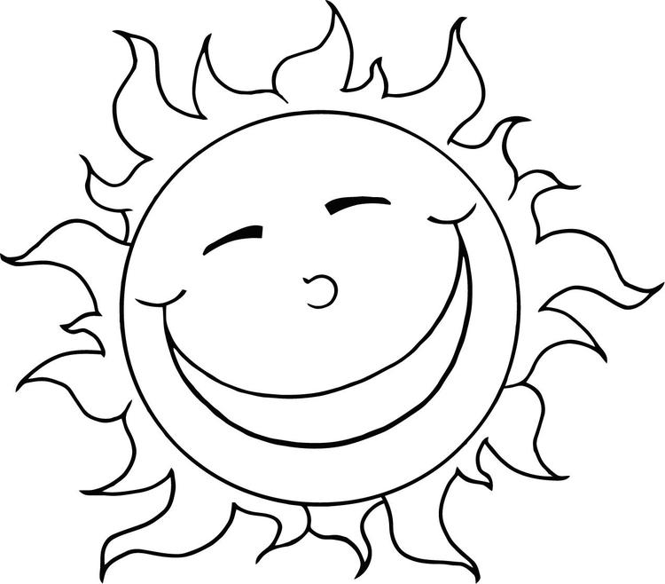 Sun Coloring Pages Smiling
